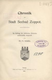 Chronik der Stadt Seebad Zoppot : Im Auftrage der städtischen Behörden quellenmäßig dargestellt