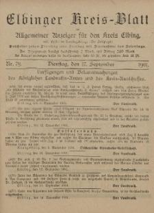 Kreis-Blatt des Königlich Preußischen Landraths-Amtes zu Elbing, Nr. 79 Dienstag 17 September 1901