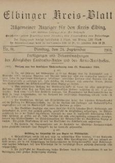 Kreis-Blatt des Königlich Preußischen Landraths-Amtes zu Elbing, Nr. 81 Dienstag 24 September 1901
