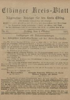 Kreis-Blatt des Königlich Preußischen Landraths-Amtes zu Elbing, Nr. 84 Freitag 4 Oktober 1901