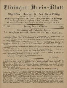 Kreis-Blatt des Königlich Preußischen Landraths-Amtes zu Elbing, Nr. 85 Freitag 8 Oktober 1901