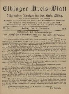 Kreis-Blatt des Königlich Preußischen Landraths-Amtes zu Elbing, Nr. 94 Freitag 8 November 1901