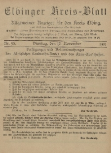 Kreis-Blatt des Königlich Preußischen Landraths-Amtes zu Elbing, Nr. 95 Dienstag 12 November 1901