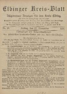 Kreis-Blatt des Königlich Preußischen Landraths-Amtes zu Elbing, Nr. 98 Freitag 22 November 1901