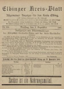 Kreis-Blatt des Königlich Preußischen Landraths-Amtes zu Elbing, Nr. 101 Dienstag 3 Dezember 1901