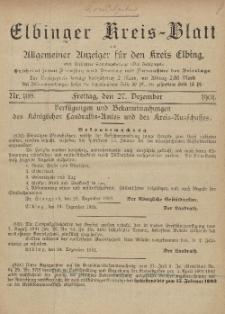 Kreis-Blatt des Königlich Preußischen Landraths-Amtes zu Elbing, Nr. 108 Freitag 27 Dezember 1901