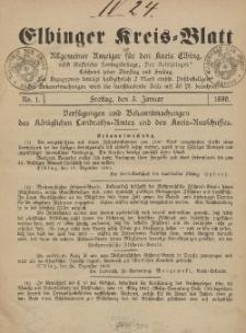 Kreis-Blatt des Königlich Preußischen Landraths-Amtes zu Elbing, Nr. 1 Freitag 3 Januar 1890