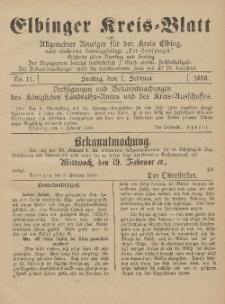 Kreis-Blatt des Königlich Preußischen Landraths-Amtes zu Elbing, Nr. 11 Freitag 7 Februar 1890
