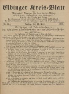 Kreis-Blatt des Königlich Preußischen Landraths-Amtes zu Elbing, Nr. 22 Freitag 21 März 1890