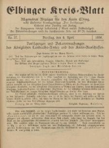 Kreis-Blatt des Königlich Preußischen Landraths-Amtes zu Elbing, Nr. 27 Dienstag 8 April 1890