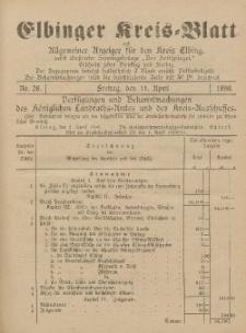 Kreis-Blatt des Königlich Preußischen Landraths-Amtes zu Elbing, Nr. 28 Freitag 11 April 1890