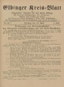 Kreis-Blatt des Königlich Preußischen Landraths-Amtes zu Elbing, Nr. 29 Dienstag 15 April 1890