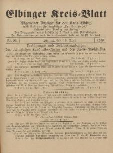 Kreis-Blatt des Königlich Preußischen Landraths-Amtes zu Elbing, Nr. 30 Freitag 18 April 1890