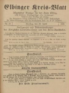 Kreis-Blatt des Königlich Preußischen Landraths-Amtes zu Elbing, Nr. 33 Dienstag 29 April 1890