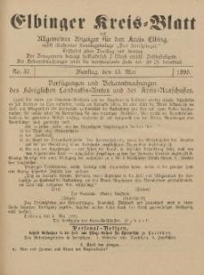 Kreis-Blatt des Königlich Preußischen Landraths-Amtes zu Elbing, Nr. 37 Dienstag 13 Mai 1890