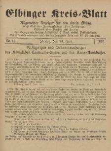 Kreis-Blatt des Königlich Preußischen Landraths-Amtes zu Elbing, Nr. 46 Freitag 13 Juni 1890