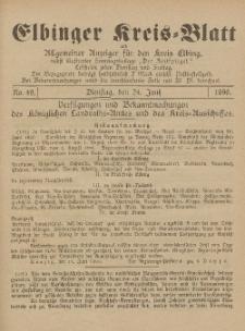 Kreis-Blatt des Königlich Preußischen Landraths-Amtes zu Elbing, Nr. 49 Dienstag 24 Juni 1890