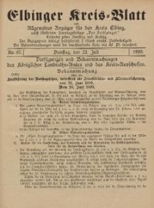 Kreis-Blatt des Königlich Preußischen Landraths-Amtes zu Elbing, Nr. 57 Dienstag 22 Juli 1890