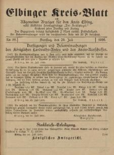 Kreis-Blatt des Königlich Preußischen Landraths-Amtes zu Elbing, Nr. 59 Dienstag 29 Juli 1890