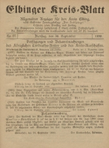 Kreis-Blatt des Königlich Preußischen Landraths-Amtes zu Elbing, Nr. 78 Freitag 3 Oktober 1890