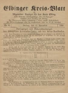 Kreis-Blatt des Königlich Preußischen Landraths-Amtes zu Elbing, Nr. 91 Dienstag 18 November 1890