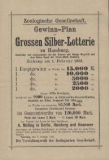 Zoologische Gesellschaft. Gewinn-Plan der Grossen Silber – Lotterie zu Hamburg.