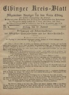 Kreis-Blatt des Königlich Preußischen Landraths-Amtes zu Elbing, Nr. 4 Freitag 12 Januar 1900