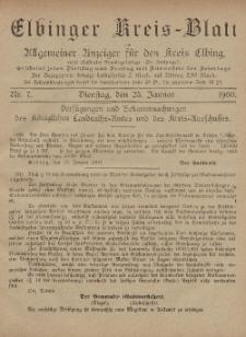 Kreis-Blatt des Königlich Preußischen Landraths-Amtes zu Elbing, Nr. 7 Dienstag 23 Januar 1900