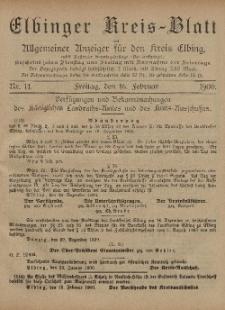 Kreis-Blatt des Königlich Preußischen Landraths-Amtes zu Elbing, Nr. 14 Freitag 16 Februar 1900