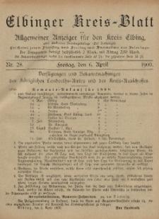 Kreis-Blatt des Königlich Preußischen Landraths-Amtes zu Elbing, Nr. 28 Freitag 6 April 1900