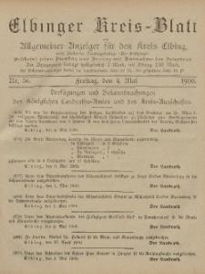 Kreis-Blatt des Königlich Preußischen Landraths-Amtes zu Elbing, Nr. 36 Freitag 4 Mai 1900