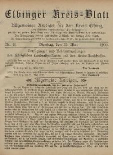 Kreis-Blatt des Königlich Preußischen Landraths-Amtes zu Elbing, Nr. 41 Dienstag 22 Mai 1900