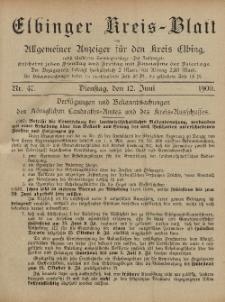 Kreis-Blatt des Königlich Preußischen Landraths-Amtes zu Elbing, Nr. 47 Dienstag 12 Juni 1900