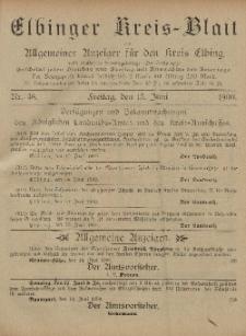 Kreis-Blatt des Königlich Preußischen Landraths-Amtes zu Elbing, Nr. 48 Freitag 15 Juni 1900