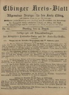 Kreis-Blatt des Königlich Preußischen Landraths-Amtes zu Elbing, Nr. 65 Dienstag 14 August 1900