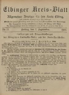 Kreis-Blatt des Königlich Preußischen Landraths-Amtes zu Elbing, Nr. 72 Freitag 7 September 1900