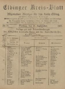 Kreis-Blatt des Königlich Preußischen Landraths-Amtes zu Elbing, Nr. 76 Dienstag 18 September 1900