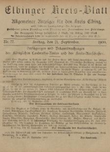 Kreis-Blatt des Königlich Preußischen Landraths-Amtes zu Elbing, Nr. 77 Freitag 21 September 1900