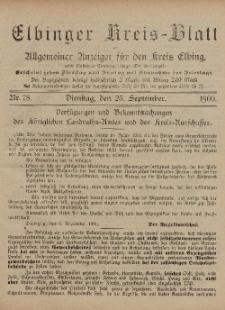 Kreis-Blatt des Königlich Preußischen Landraths-Amtes zu Elbing, Nr. 78 Dienstag 25 September 1900