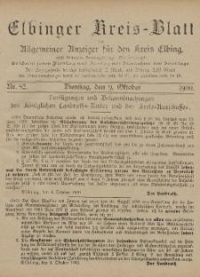Kreis-Blatt des Königlich Preußischen Landraths-Amtes zu Elbing, Nr. 82 Dienstag 9 Oktober 1900