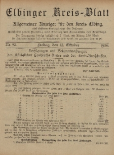 Kreis-Blatt des Königlich Preußischen Landraths-Amtes zu Elbing, Nr. 83 Freitag 12 Oktober 1900
