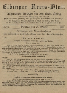 Kreis-Blatt des Königlich Preußischen Landraths-Amtes zu Elbing, Nr. 86 Dienstag 23 Oktober 1900