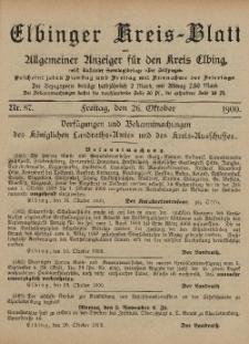 Kreis-Blatt des Königlich Preußischen Landraths-Amtes zu Elbing, Nr. 87 Freitag 26 Oktober 1900
