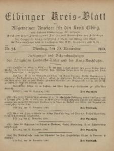 Kreis-Blatt des Königlich Preußischen Landraths-Amtes zu Elbing, Nr. 94 Dienstag 20 November 1900
