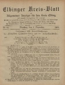 Kreis-Blatt des Königlich Preußischen Landraths-Amtes zu Elbing, Nr. 99 Dienstag 4 Dezember 1900