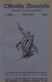 Ostdeutsche Monatshefte Nr. 7, Oktober 1927, 8 Jahrgang