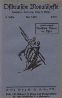 Ostdeutsche Monatshefte Nr. 3, Juni 1927, 8 Jahrgang