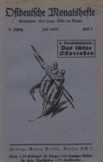 Ostdeutsche Monatshefte Nr. 4, Juli 1927, 8 Jahrgang