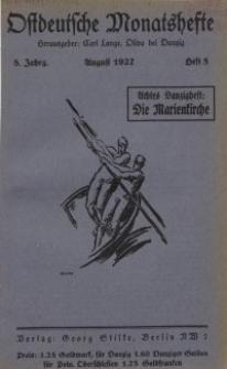 Ostdeutsche Monatshefte Nr. 5, August 1927, 8 Jahrgang