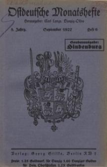 Ostdeutsche Monatshefte Nr. 6, September 1927, 8 Jahrgang